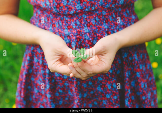 Finland, Helsinki, Aggelby, Mid section shot of woman holding four-leaf clover - Stock Image