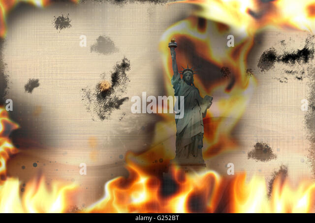 Paper texture fire flames burning background - Stock Image