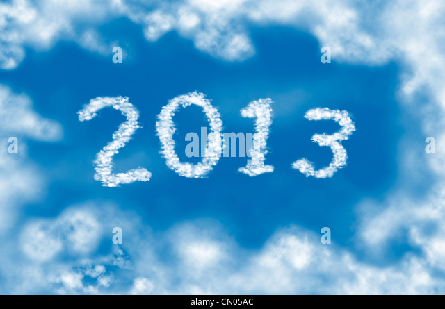 Year 2013 cloud and blue sky on sunny day. - Stock Image
