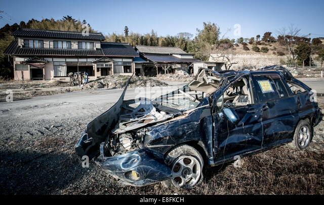 Destroyed car - Stock Image