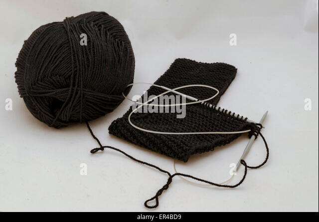 Stitch with knitting-needle of my wife - Stock Image
