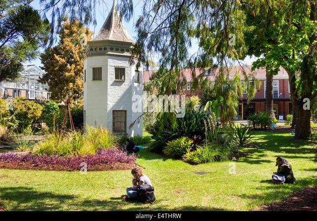 Melbourne Australia Victoria Carlton Parkville University of Melbourne campus school System Garden student studying - Stock Image