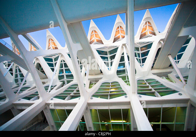 Spain, Europe, Valencia, City of Arts and Science, Calatrava, architecture, modern, structure - Stock Image
