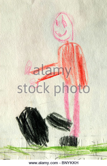 Richard's story book. Illustration of a football player by a Southampton schoolboy. - Stock Image