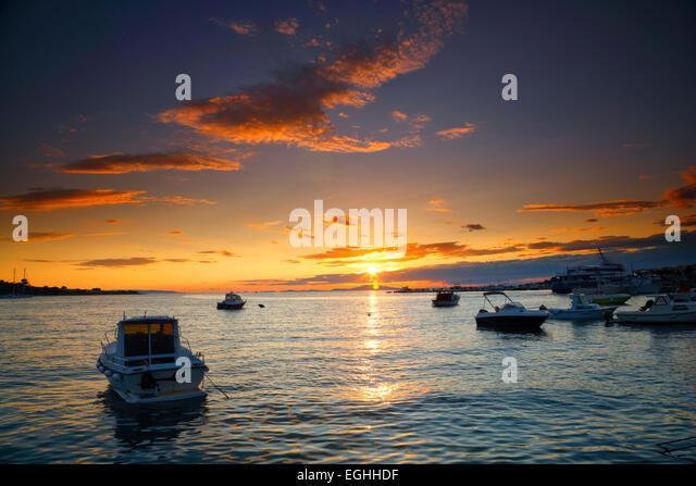 Sunset landscape, Novalja, Croatia - Stock Image