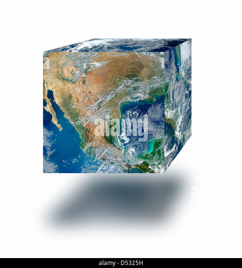 Earth cube floating - Stock Image