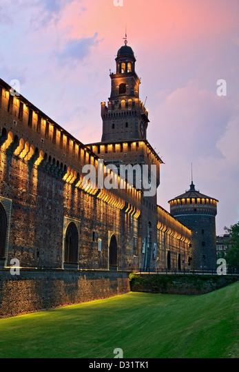 Towers, Sforza Castle, Milan, Italy - Stock Image