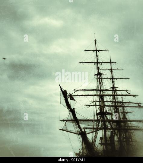 Tall ship and plane - Stock-Bilder