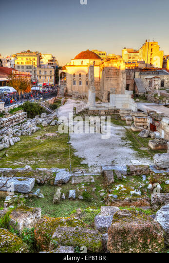 Remains of the Hadrian's Library in Monastiraki square in Athens, Greece - Stock Image