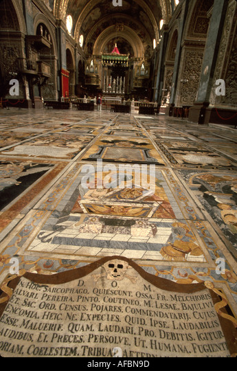 Malta Valetta St. John's Co Cathedral built 1573 hundreds of knights buried under marble floor - Stock Image