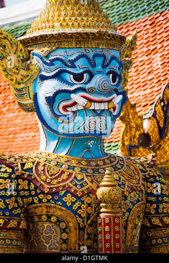 Colourful guardian statue close up, Grand Palace, Bangkok, Thailand, Southeast Asia, Asia - Stock Image
