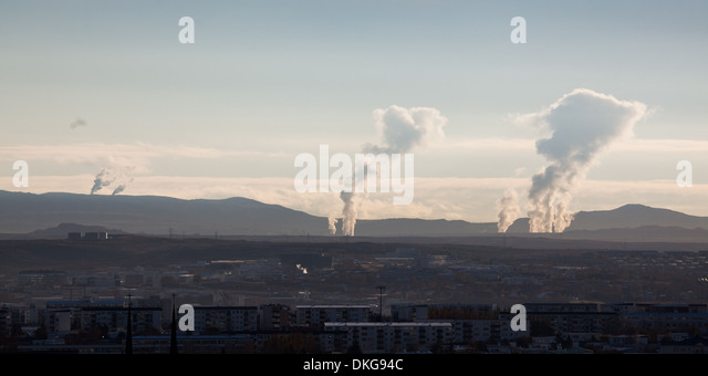 Steam rises from Geothermal Power Stations - Stock Image