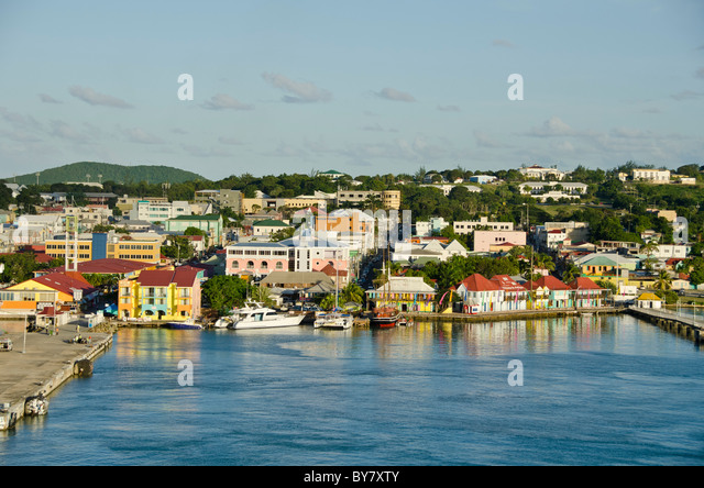 St Johns Antigua seen from the water from Caribbean cruise ship - Stock Image