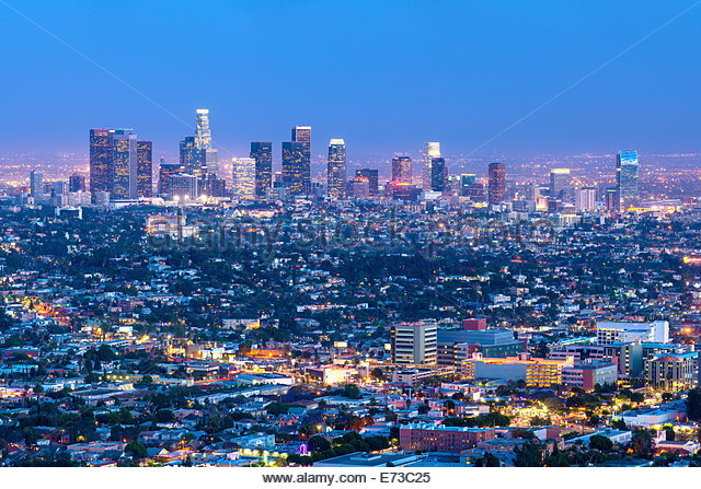 Cityscape of the Los Angeles skyline at dusk, Los Angeles, California, United States of America, North America - Stock-Bilder