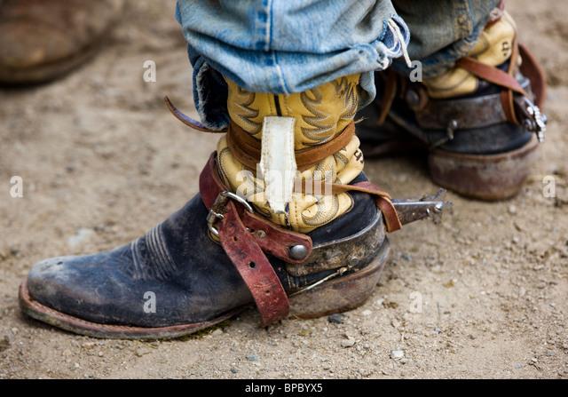 Cowboy Boots Leather Spurs Stock Photos & Cowboy Boots Leather ...