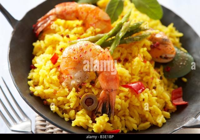 Seafood paella, close-up - Stock-Bilder