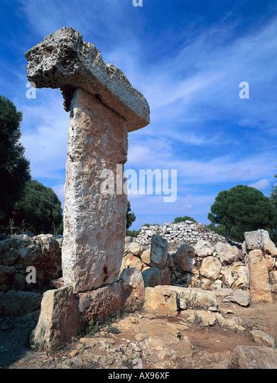 Prehistoric site, Taula de Binissafúller near Sant Lluis Minorca, Balearic Islands, Spain - Stock Image