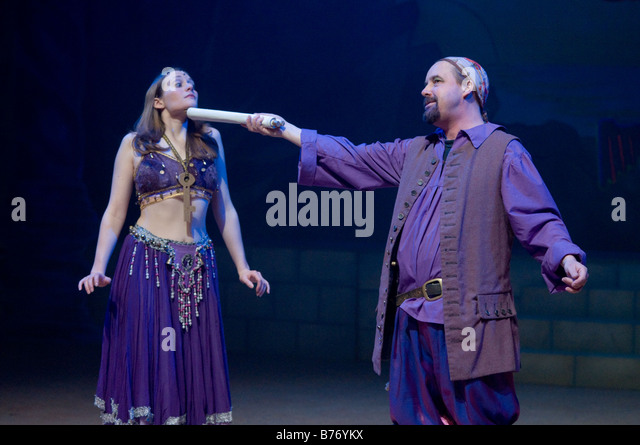 two actors in an Amateur drama company performing Sinbad the Sailor pantomime Aberystwyth Arts Centre january 2009 - Stock Image