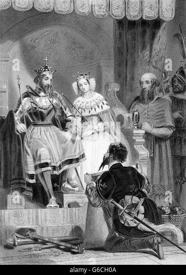 1480s CHRISTOPHER COLUMBUS SUBMITTING HIS PLAN TO FERDINAND AND ISABELLA OF SPAIN - Stock-Bilder