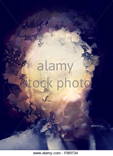 Abstract Portrait With A Town At A Background - Stock-Bilder
