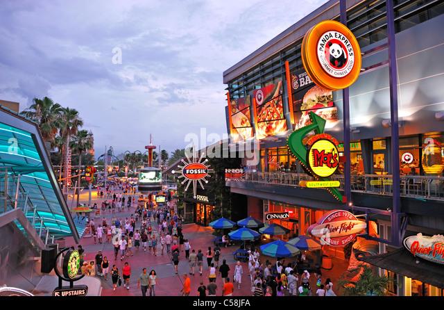 City Walk, dusk, Entertainment, Universal Orlando, Orlando, Florida, USA, United States, America, visitors, tourists - Stock Image