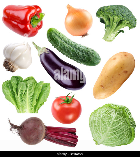 Vegetable collection isolated on a white background. File contains a path to cut. - Stock-Bilder