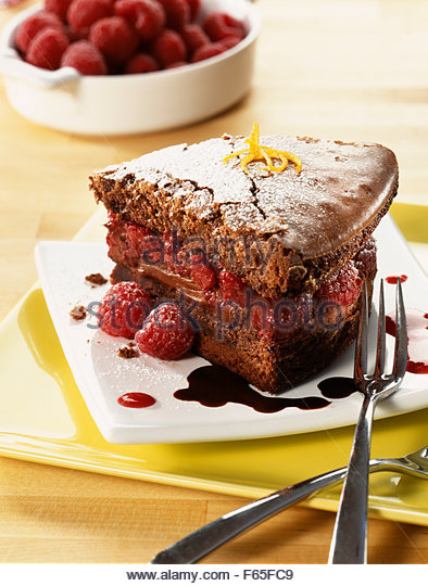 raspberry filled chocolate cake - Stock Image