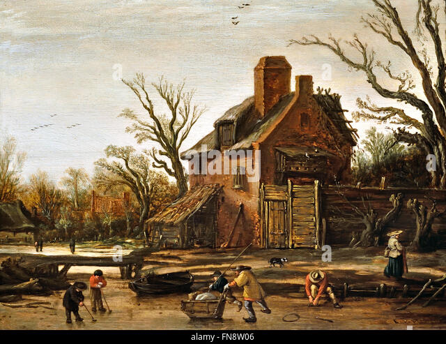 Esaias van de Velde, Winter Landscape with Farmhouse, 1624 Dutch Netherlands One man is tying on his skates and - Stock Image