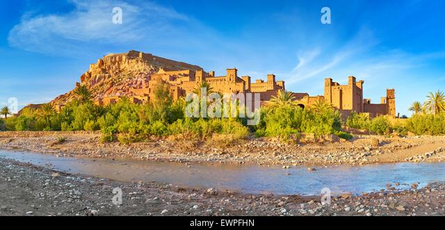 Panoramic view of Ait Benhaddou, Ait Ben Haddou, Kasbah, Ouarzazate, Morocco, Africa - Stock Image