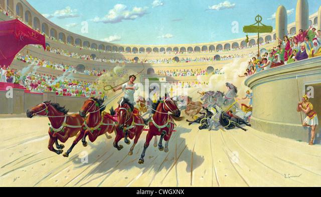 Chariot racing, chariot race, Ben Hur chariot race - Stock Image