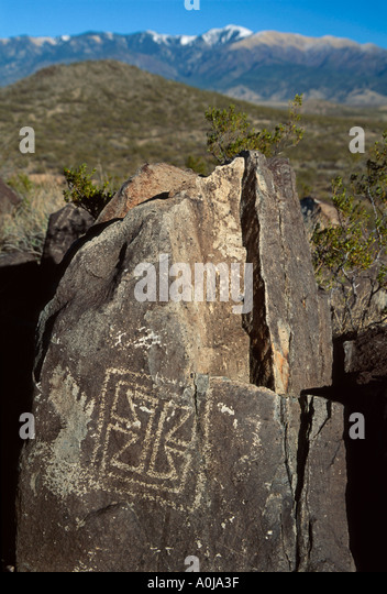 New Mexico Southwest Three Rivers Petroglyph Site snow capped Sierra Blanca Mountains beyond NM - Stock Image