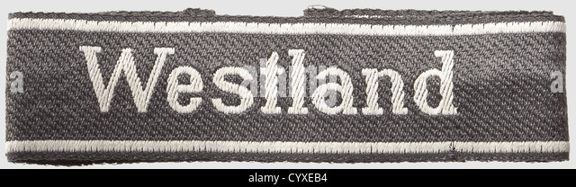 Sleeveband of the 10th ss-regiment 'Westland', for enlisted men, woven BeVo-type, silver-grey thread inscription - Stock-Bilder