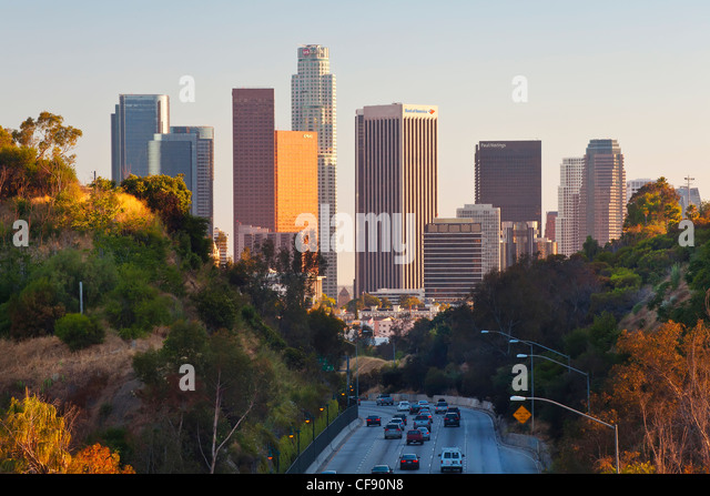 Pasadena Freeway (CA Highway 110) Leading to Downtown Los Angeles, California, United States of America - Stock Image