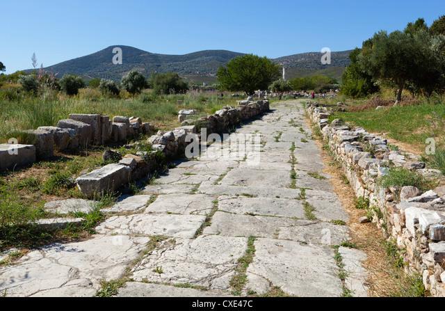 Sacred Way, Ireon archaeological site, Ireon, Samos, Aegean Islands, Greece - Stock Image
