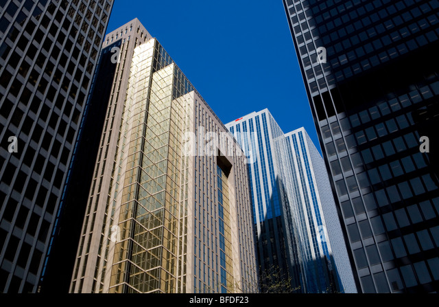 Low angle view of downtown office towers, Toronto, Ontario, Canada - Stock Image