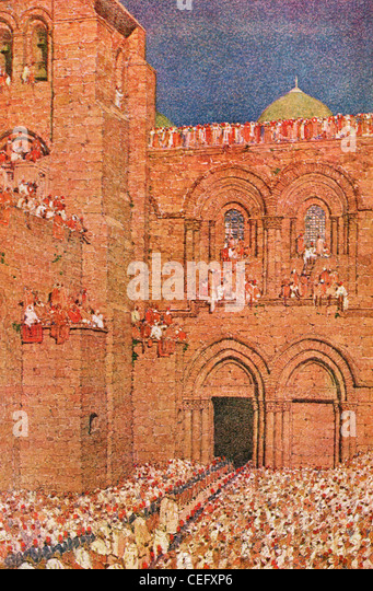"Plate 19, ""Church of the Holy Sepulchre,"" Jerusalem, by Jules Guerin, 1920, J. H. Jansen, Cleveland, Publisher. - Stock Image"