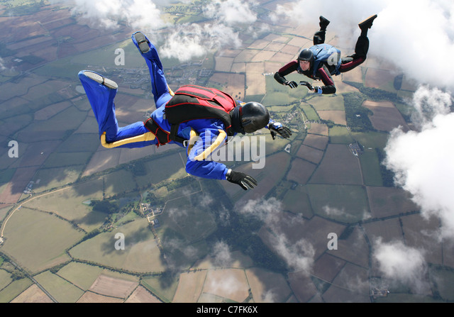 Two skydivers in freefall - Stock Image