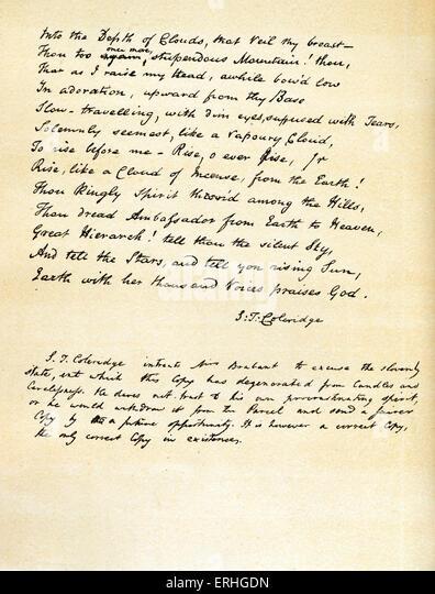 Samuel Taylor Coleridge - last page of handwritten poem 'Hymn before Sunrise in the Vale of Chamouny' and - Stock-Bilder
