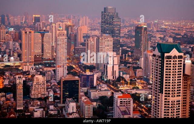 Bangkok at night in Thailand - Stock Image
