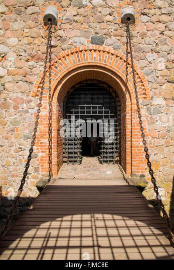 geography / travel, Lithuania, Trakai, Trakai Castle, drawbridge, Lietuva, Baltics, Baltic area, Baltic states, - Stock-Bilder