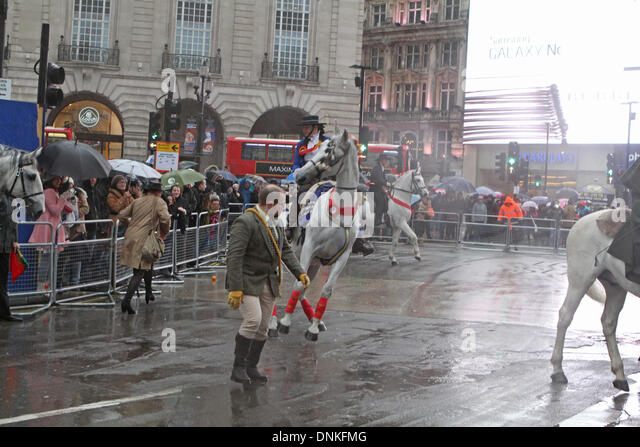 London,UK,1st January 2014,Horses misbehaved at the London's New Year's Day Parade 2014 Credit: Keith Larby/Alamy - Stock Image