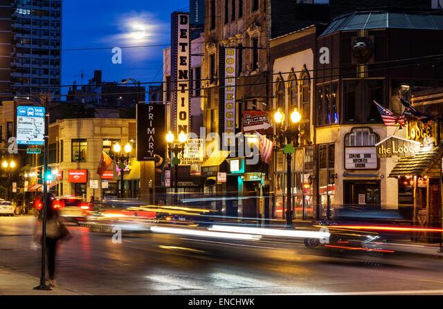 Chicago Illinois Gold Coast Historic District Division Street neighborhood nightlife night bar Detention Nightclub - Stock Image