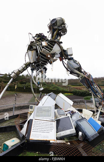 Paul Bonomini sculpture, WEEE Man, made of recycled electrical and electronic junk at the Eden Project, Cornwall, - Stock Image