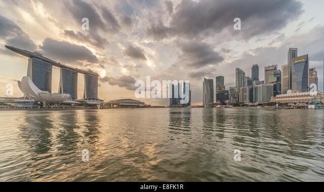 Singapore, Marina Bay, City skyline - Stock Image