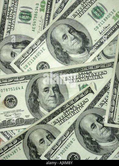 Aerial View of Many USA One Hundred Dollar $100 Bills - Stock Image