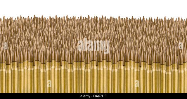 Sea of Bullets on white - Stock-Bilder