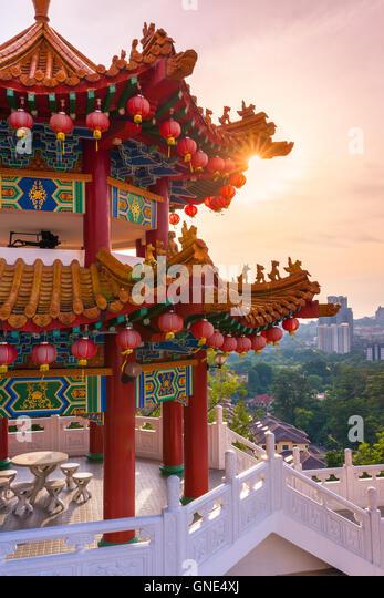 Golden sunset at Thean Hou Buddhist Temple, Kuala Lumpur, Malaysia - Stock Image