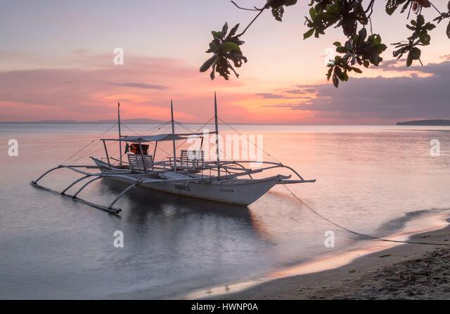 Philippines, Luzon, Sorsogon Province, Donsol, whale shark interaction boat at twilight - Stock-Bilder