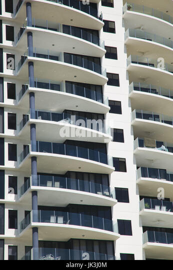 Australia, Queensland, North Coast, Cairns, Detail of Cairns Waterfront Highrises, - Stock Image
