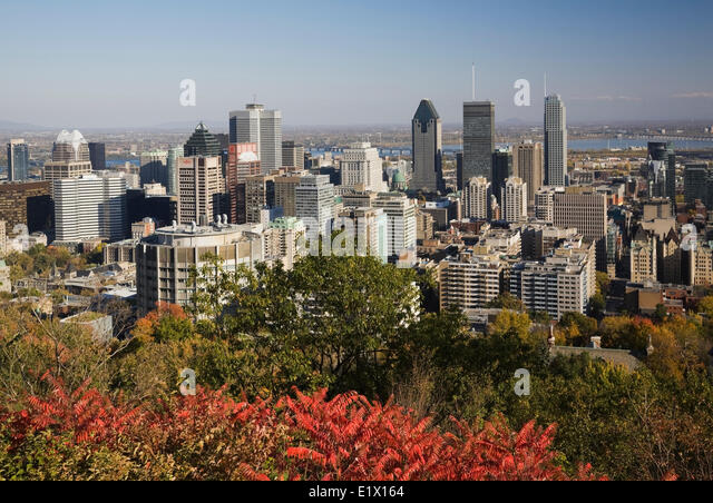 Montreal skyline taken from the lookout on Mount Royal Park in autumn, Montreal, Quebec, Canada - Stock Image